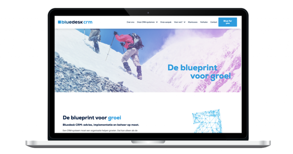 De nieuwe website van Bluedesk CRM