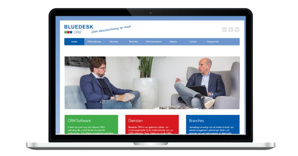 De oude website van Bluedesk CRM