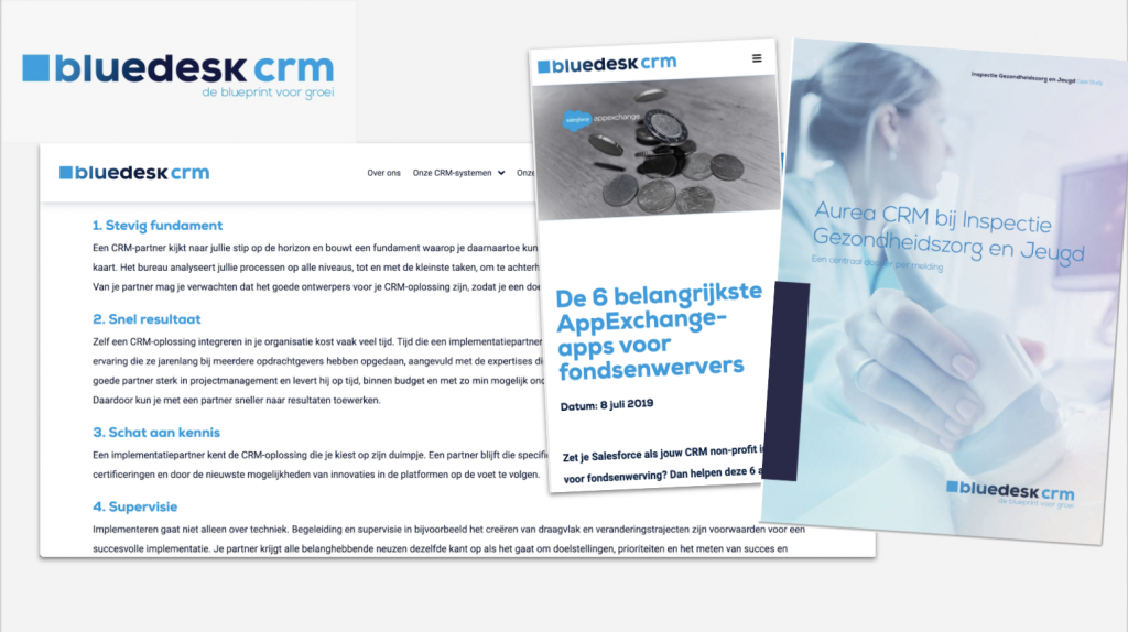 Bluedesk CRM webteksten, blogs, casestudies