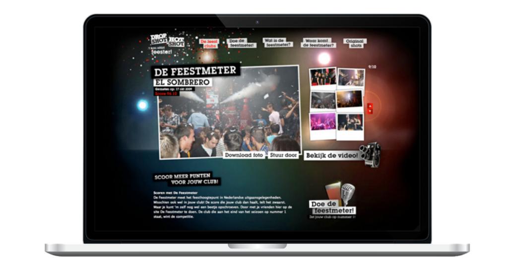 Website Feestmeter Dropshot - kroegfoto's