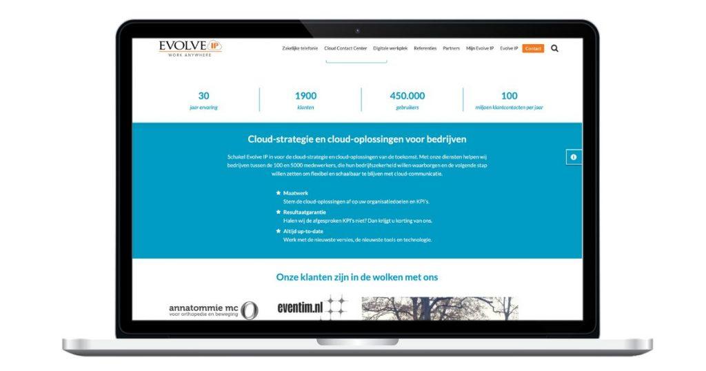 Homepage Evolve IP webteksten