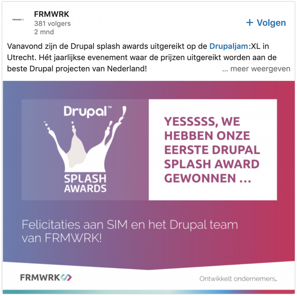 Award-inzending Drupal Splash copywriting